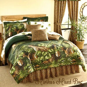 Safari Brown Leopard Cheetah Cats Animal Print Green Palm