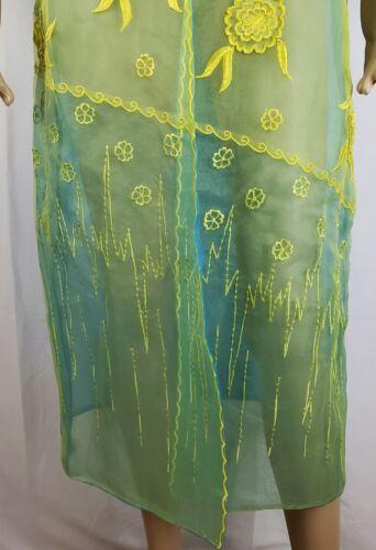Sheer Donna Grøn Gul Topper Vinci 8 Long Blomsterbroderet Blå Jacket YUqqOSwH