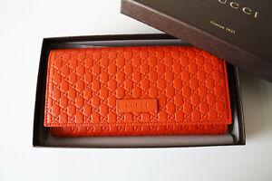 bcd79e9dbae63 Das Bild wird geladen GUCCI-449396-Geldboerse-Portemonnaie-Monogramm-orange- Leder-Wallet