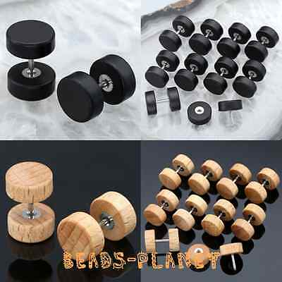 Pair Wooden Earring Ear Stud Wood Timber Fake Plug Piercing Tunnel Look 00G/0G