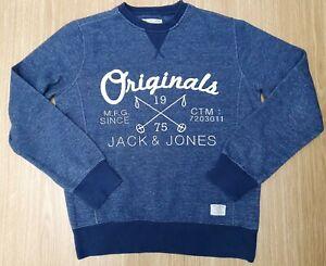 JACK & JONES CORP DENMARK Blue Denim Marl Crew Neck Sweatshirt Size Medium