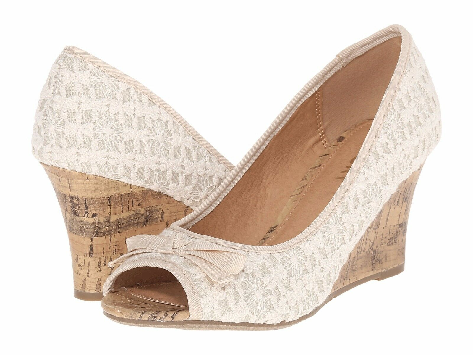 Report Ashlyn natural wedge sandal wedge pump natural Ashlyn cream sz 8.5 Med NEW e2e354