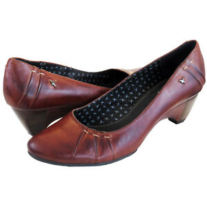 RRP-89-PIKOLINOS-WOMENS-COURT-SHOES-SLIP-ON-HEELS-BROWN-LEATHER-CUERO-UK-7