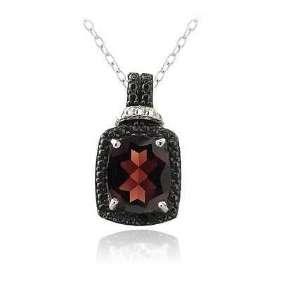925 Silver 4ct Garnet & Black Diamond Accent Rectangle Necklace, 18""