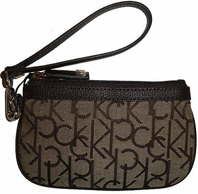Calvin Klein Classic CK Print Design Wristlet Bag Purse
