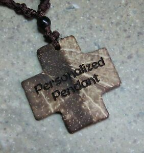 necklace pendant watch Celtic Knot Coconut Shell Cross Pendant Necklace 18in Engraved