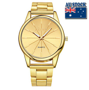 WholeSale-Hot-Classic-Men-039-s-Stainless-Steel-Gold-Plated-Gold-Dial-Quartz-Watch