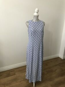 Principles-Sleeveless-Pale-Blue-Dress-With-White-Swirl-Pattern-Size-10