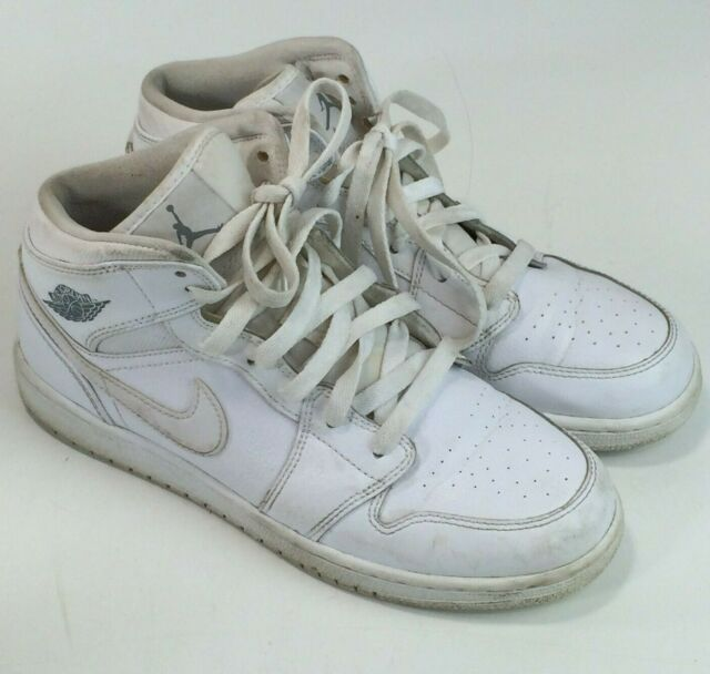 sports shoes efeb7 496a5 Nike Air Jordan 1 Mid Retro GS Shoes White Grey 554725-102 Youth Size 6y