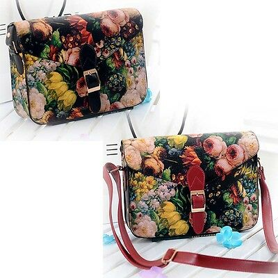 Women Handbag Shoulder Bag Messenger Paint Flowers Leather Crossbody Tote Purses