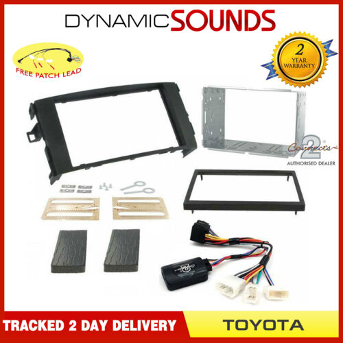 Double DIN Stereo Fascia Fitting Kit Stalk Control Black for Toyota Auris 2007/>