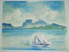 Sailboat & Seascape, Landscape Watercolor-1970s-Israel Louis Winarsky