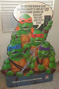 Teenage Mutant Ninja Turtles The Movie On Video Standee DIsplay Pizza Hut 1990