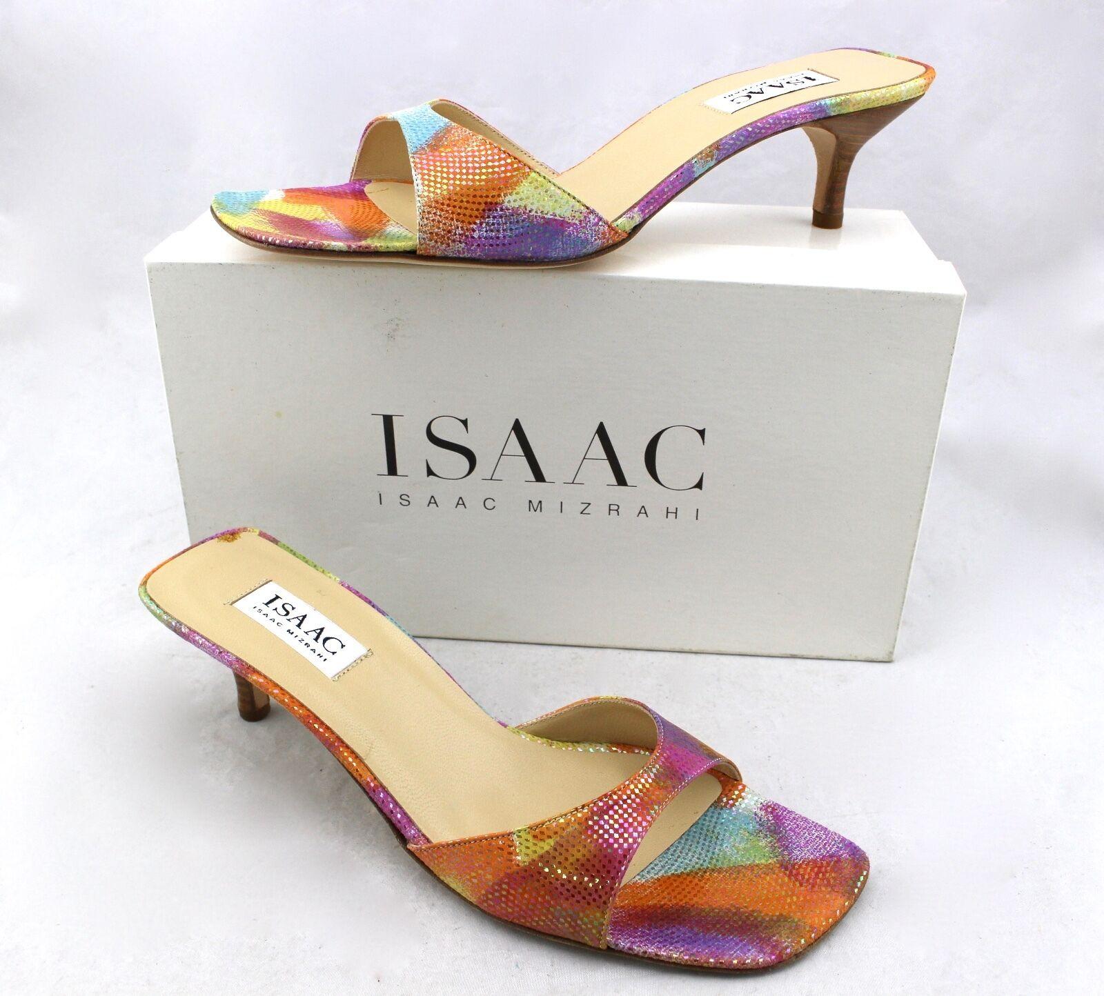 ISAAC Isaac Iridescent Mizrahi Sandee Multi-Farbe Rainbow Iridescent Isaac Sandales Slides Heels 27e45a