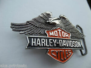 BELT BUCKLE HARLEY DAVIDSON BAR SHIELD EAGLE SOLID BRASS 1990