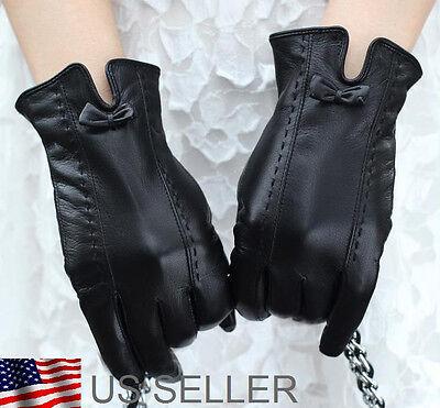 Lovely Women's Genuine Leather Wrist Gloves Black