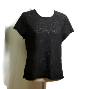 Josephine-Chaus-Womens-Top-Size-Large-Black-Floral-Design-Sheer-Short-Sleeves