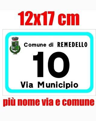 Numeri civici numero civico ALLUMINIO  RIFRANGENTE numero e via 12x17 cm