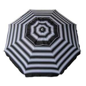 BEACHKIT-Daytripper-Beach-Umbrella-Black-White-Stripe-210cm-98-UV-Protection