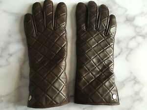 MICHAEL-KORS-Brown-Leather-Quilted-Gloves-Size-7-5