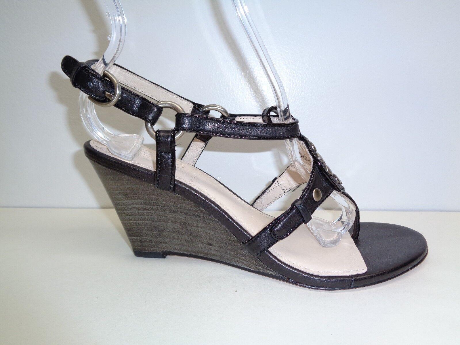 Entrenador de tamaño 7.5 M Harper Negro Cuero Adornado Adornado Adornado Nuevos Mujer Zapatos Sandalias de cuña  varios tamaños