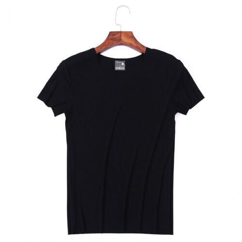 Men/'s Micro Modal Ribbed V-Neck Short Sleeve T-Shirt Undershirt Fit Slim Tees