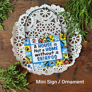 DECO-Mini-Sign-SHIHPOO-Dog-Wood-Ornament-Gift-All-Breeds-Here-New-in-Pkg-USA