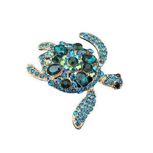 Mode-Charme-Strass-Blue-Turtle-Brosche-Kristall-Brosche-Pins-Schmuck-XJ