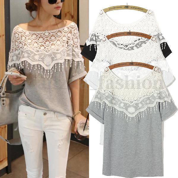 Celeb Zanzea Ladies Lace Detail Short Sleeve Loose Tops Blouse T-shirt Oversized