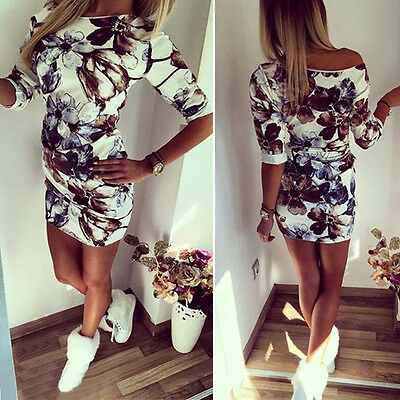 Summer Womens Letter Print Tunic Dress Party Club Blouse Tops Bodycon Playsuit