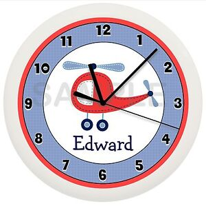 Image Is Loading Personalized Blue And Red Helicopter Nursery Wall Clock