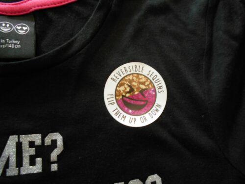 BNWT PRIMARK GIRLS EMOJI EMOTIONS T SHIRT BRUSH CHANGING SEQUIN SIZES 9-10//12-13