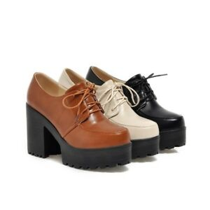 Womens-Round-Toe-Platform-Lace-Up-Punk-Boots-Chunky-Heel-Goth-Creeper-Shoes-New