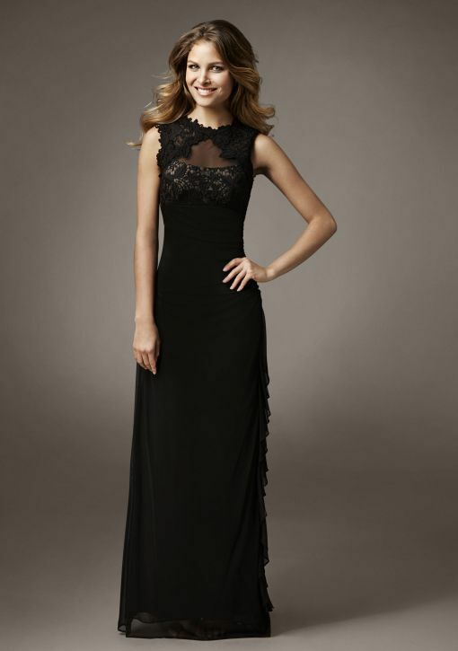 Betsy & Adam Illusion Lace Cascade Ruffle Gown  (Größe 12)