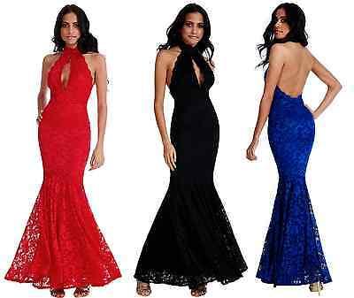 Obligatorisch Goddess Lace Keyhole Backless Maxi Evening Fishtail Formal Party Dress Prom