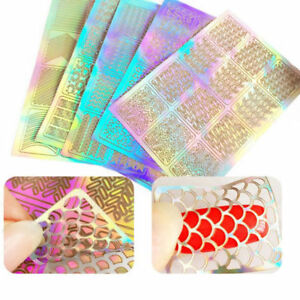6-Feuilles-Vinyle-Pochoir-Stickers-Creux-Autocollant-a-ongles-Nail-Art-Manucure