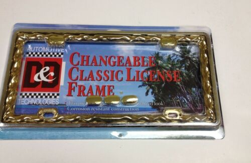3 D WAVE TWIST CLASSIC CHROME-GOLD METAL LICENSE PLATE FRAME LPF-2343CG