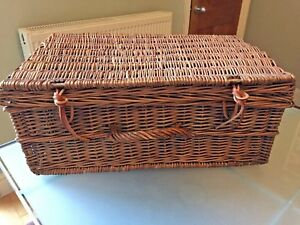 Image Is Loading Large VINTAGE Wicker HAMPER BASKET Picnic Xmas LEATHER