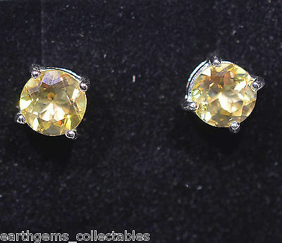 """ POST STUD CHARDONNAY COLORED 6mm TOPAZ EARRINGS 1.85 TCW 925 SILVER"""