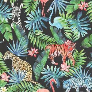 Tropical-Jungle-Exotic-Animal-Wallpaper-Floral-Black-Green-Blue-Paste-Wall-P-S