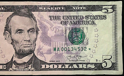 GEM Uncirculated 2013 Five Dollar Star Note FRB New York UNC $5 Bill x 1