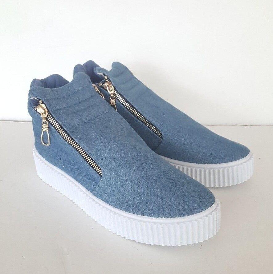 Women's Olivia Miller Islip Tyom Blue Zip Up Sneakers, Size 10