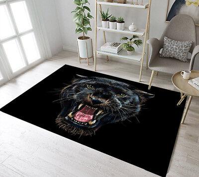 Painting Design Roaring Black Panther Area Rugs Bedroom Living Room Floor Mat