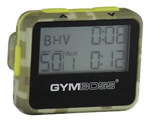 GYMBOSS-INTERVAL-TIMER-AND-STOPWATCH-GREEN-CAMO-YELLOW-SOFTCOAT-SHIPPED-FR-UK