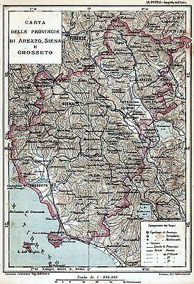 Cartina Geografica Di Arezzo.Province Di Arezzo Siena E Grosseto Carta Geografica Cromolitografia 1895 Ebay
