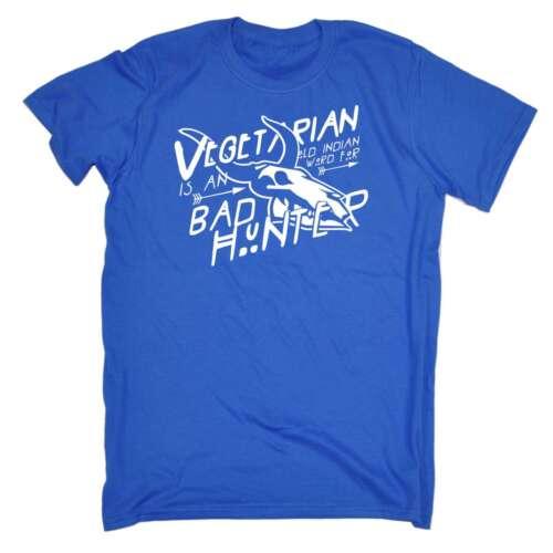 Men/'s VEGETARIANO è una parola indiano per il cattivo CACCIATORE BARZELLETTA Divertente Vegan la carne T-shirt