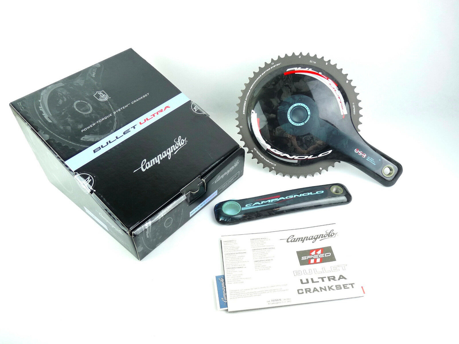 Campagnolo Bullet Crankset Carbon  11 Speed 172.5mm 53 39 ceramic bearings NOS  credit guarantee