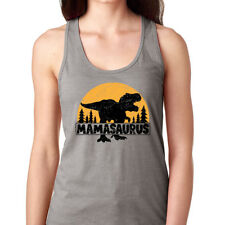 Mamasaurus Women/'s Burnout Racerback Tank Top Mom Mommy Dinosaur Rex Mothers Day