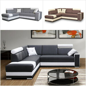 eckcouch ecksofa klaudia elegante sofagarnitur mit schlaffunktion bettkasten. Black Bedroom Furniture Sets. Home Design Ideas