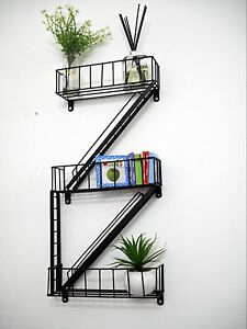 Novelty Fire Escape Black Floating Wall Shelves Shelving Unit Display Stand